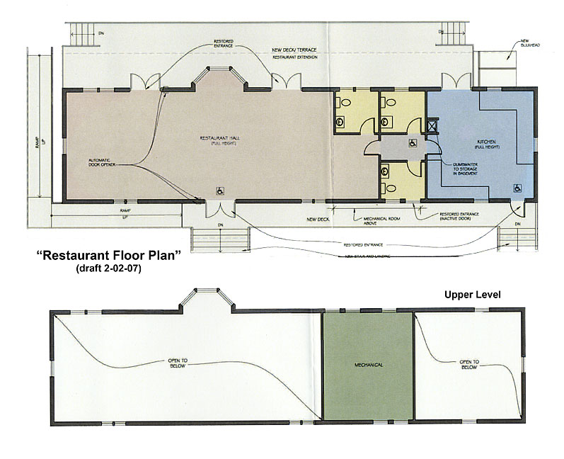 Draft design of a Restaurant Floor Plan for the Bedford Depot.
