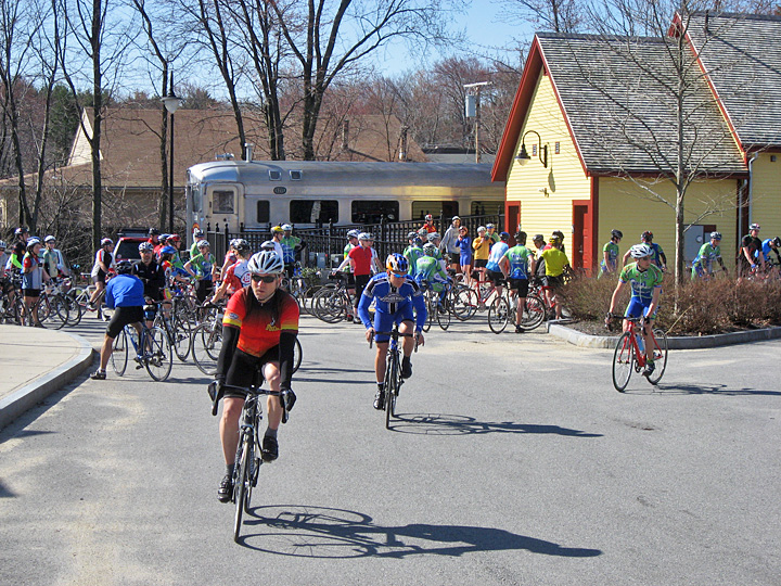 cyclists at Bedford Depot Park