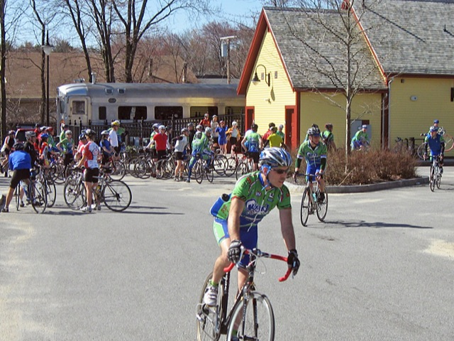 cyclists at Depot Park